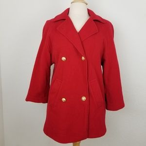 Vintage Miss Smith Red DoubleBreasted Wool Peacoat